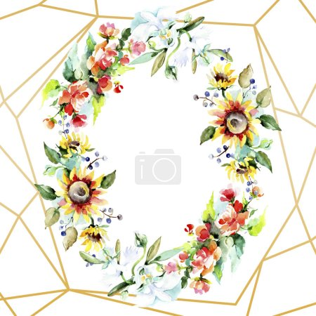 Beautiful watercolor flowers on white background. Watercolour drawing aquarelle. Isolated bouquet of flowers illustration element. Frame border ornament.