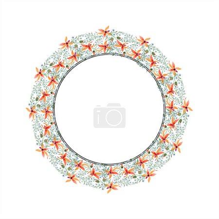 Photo pour Cadre du cercle de fleurs bleus et orange. Aquarelle, dessin de fond avec des orchidées et myosotis. - image libre de droit