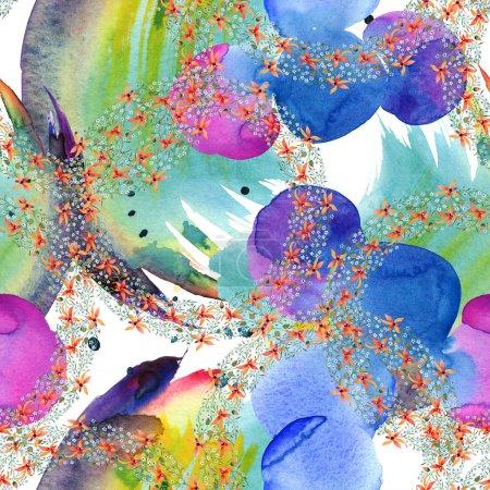 Foto de Flores azul y naranja en círculos. Acuarela, dibujo de fondo con orquídeas y te olvides de mí nots. - Imagen libre de derechos