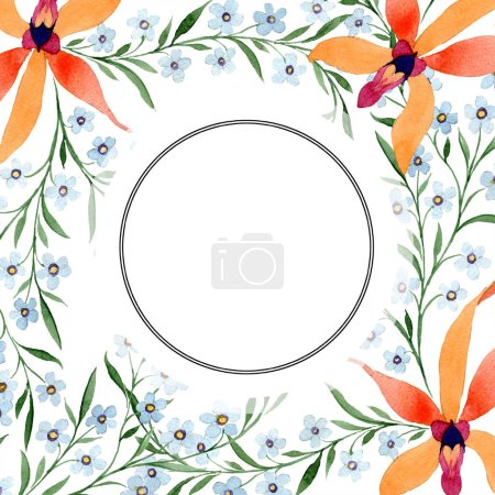 Blue and orange flowers as circle frame. Watercolour drawing of background with orchids and forget me nots.