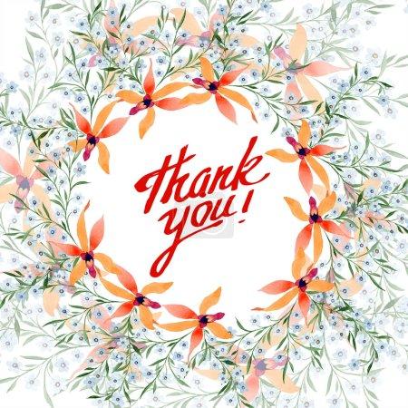 Photo pour Carte de voeux avec fleurs bleues et oranges. Aquarelle dessin de fond avec des orchidées et oubliez-moi nots . - image libre de droit