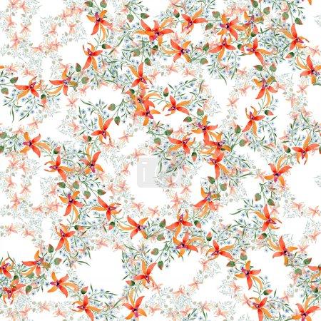 Foto de Flores azul y naranja. Acuarela, dibujo de fondo con orquídeas y te olvides de mí nots. - Imagen libre de derechos