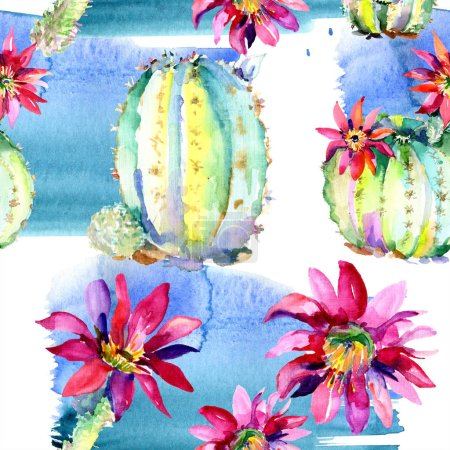 Photo pour Green cacti with pink flowers. Watercolor seamless background pattern. - image libre de droit