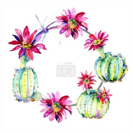Foto de Cactus verdes con ilustración acuarela flores conjunto con espacio de frontera y copia de marco. - Imagen libre de derechos