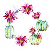 """Постер, картина, фотообои """"Green cacti with flowers watercolor illustration set with frame border and copy space. """""""
