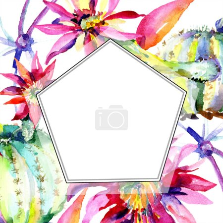 Photo for Green cacti with flowers watercolor illustration set with frame border and copy space. - Royalty Free Image