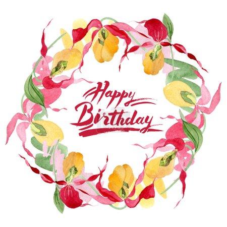 Foto de Ilustración de marco acuarela de orquídeas Señora deslizador aislado en blanco con letras feliz cumpleaños - Imagen libre de derechos