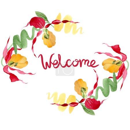 Foto de Bienvenida a orquídeas del deslizador de señora ilustración acuarela marco aislado en blanco con letras - Imagen libre de derechos