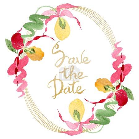 Foto de Salvar a orquídeas del deslizador de señora ilustración acuarela marco aislado en blanco con la inscripción de la fecha - Imagen libre de derechos
