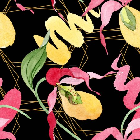 Photo for Lady slipper orchids with brushstrokes watercolor illustration on black background, seamless background pattern - Royalty Free Image