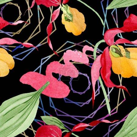 Foto de Orquídeas zapatilla de Dama con pinceladas ilustración Acuarela sobre fondo negro, patrón de fondo transparente - Imagen libre de derechos