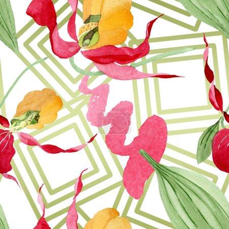 Foto de Orquídeas zapatilla de Dama con pinceladas ilustración Acuarela sobre fondo blanco, patrón de fondo transparente - Imagen libre de derechos