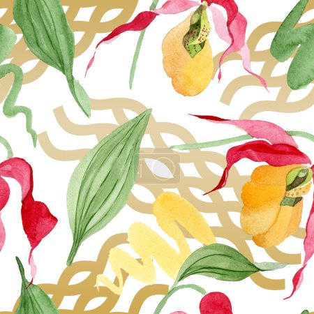 Photo for Lady slipper orchids with brushstrokes watercolor illustration on white background, seamless background pattern - Royalty Free Image