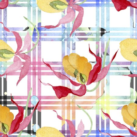 Photo for Lady slipper orchids with brushstrokes watercolor illustration on white plaid background, seamless background pattern - Royalty Free Image