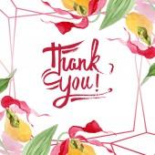 "Постер, картина, фотообои ""Леди Тапочки орхидеи акварель кадр Иллюстрация изолирован на белом с буквами Спасибо"""