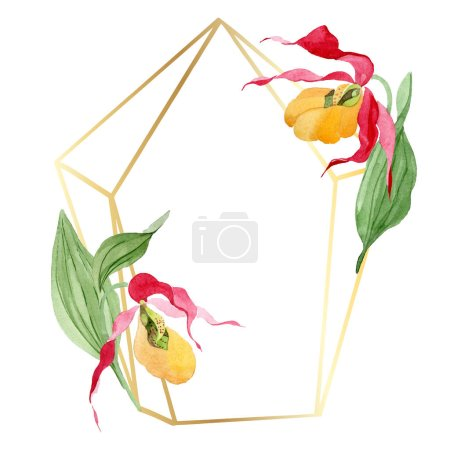 Photo for Lady slipper orchids watercolor frame illustration isolated on white with copy space - Royalty Free Image