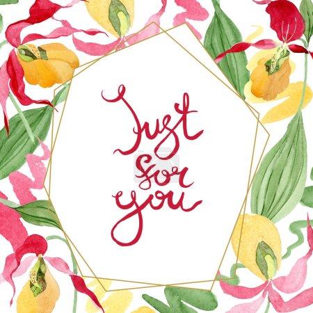 Foto de Ilustración de marco acuarela de orquídeas Señora deslizador aislado en blanco con sólo para ti Letras - Imagen libre de derechos