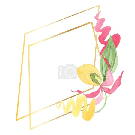 Photo for Lady slipper orchid watercolor frame illustration isolated on white with copy space - Royalty Free Image