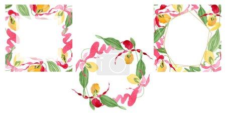 Foto de Ilustración de cuadros acuarela de orquídea del deslizador de señora aislado en blanco con espacio de copia - Imagen libre de derechos