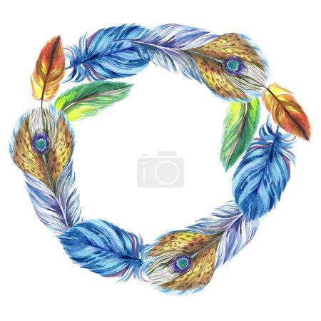 Colorful watercolor feathers isolated on white illustration. Frame border ornament with copy space.