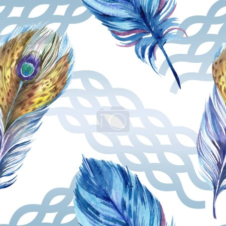 Photo for Colorful feathers with abstract pattern on white background. Seamless background pattern. Fabric wallpaper print texture. - Royalty Free Image