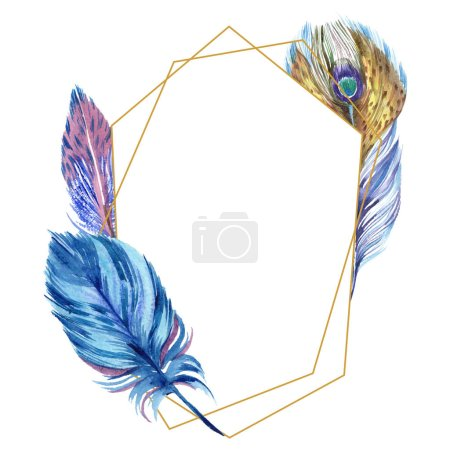 Photo for Colorful watercolor feathers isolated on white illustration. Frame border ornament with copy space. - Royalty Free Image