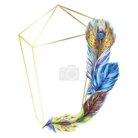 Photo pour Des plumes colorées. Plume d'oiseau aquarelle de l'aile isolée. Plume Aquarelle pour fond, texture, motif enveloppant, cadre ou bordure. Bordure du cadre - image libre de droit