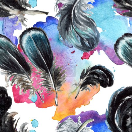 Photo pour Plumes noires dessin à l'aquarelle. Modèle de fond sans couture. Texture d'impression papier peint tissu . - image libre de droit