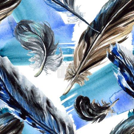 Photo pour Dessin de plumes noires. Motif de fond transparente. Impression texture de tissu papier peint. - image libre de droit