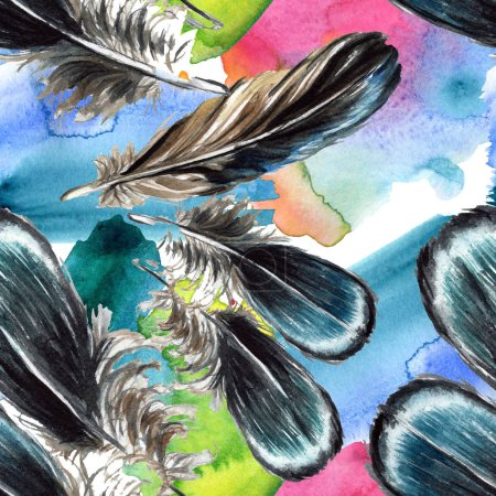 Photo for Black feathers watercolor drawing. Seamless background pattern. Fabric wallpaper print texture. - Royalty Free Image