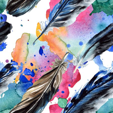 Black feathers watercolor drawing. Seamless background pattern. Fabric wallpaper print texture.