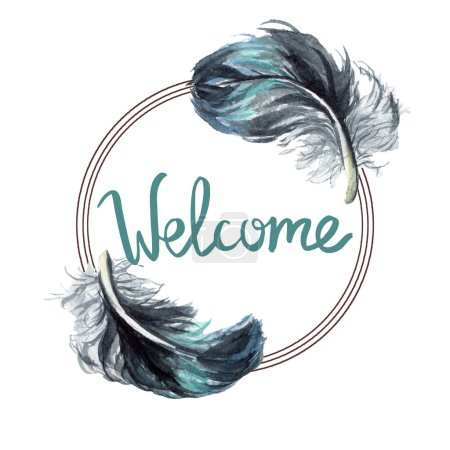 Photo for Black feathers isolated watercolor illustration. Frame border with welcome lettering. - Royalty Free Image