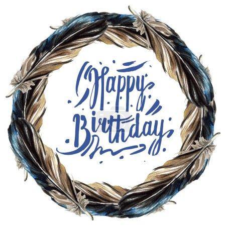 Photo pour Plumes noires illustration aquarelle isolée. Bordure du cadre avec lettrage joyeux anniversaire . - image libre de droit