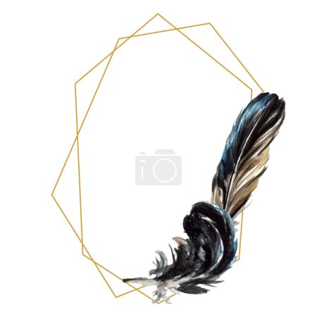 Photo for Black feathers watercolor drawing. Frame border with copy space. - Royalty Free Image