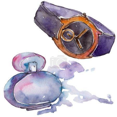 Trendy isolated accessories illustration set in watercolor style