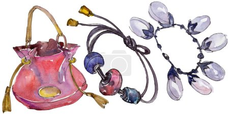 Photo for Trendy isolated accessories illustration set in watercolor style - Royalty Free Image