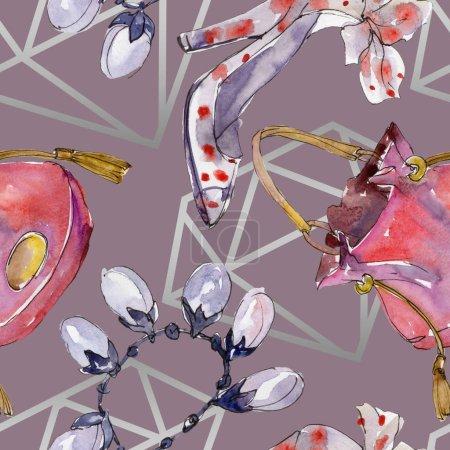 Photo pour Illustration d'accessoires de mode dans un style aquarelle. Modèle de fond sans couture. Texture d'impression papier peint tissu . - image libre de droit