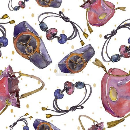 Photo for Fashion accessories illustration in watercolor style. Seamless background pattern. Fabric wallpaper print texture. - Royalty Free Image