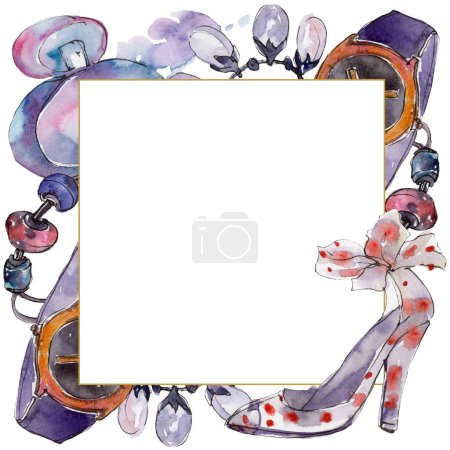 Photo for Clothes and accessories fashion set illustration. Border frame ornament with copy space. - Royalty Free Image