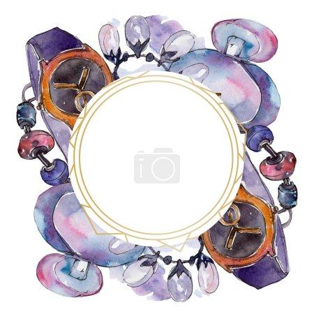 Photo pour Vêtements et accessoires mode set illustration. Ornement cadre frontière avec espace copie. - image libre de droit