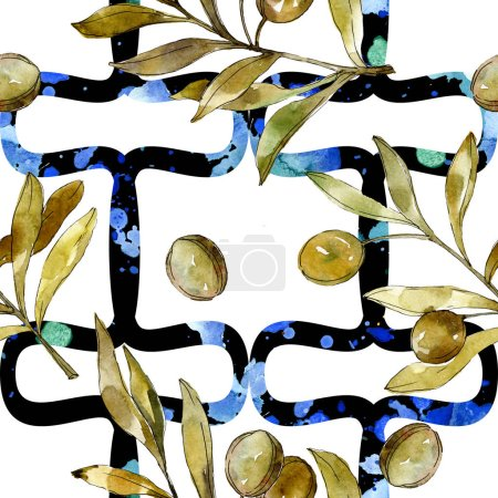 Photo for Green olives watercolor background. Watercolour drawing fashion aquarelle isolated. Botanical garden foliage and olives. - Royalty Free Image