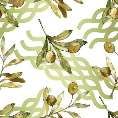 grüne Oliven Aquarell Hintergrund Illustrationsset. Aquarellzeichnung Modeaquarell isoliert. botanisches Olivenblatt.
