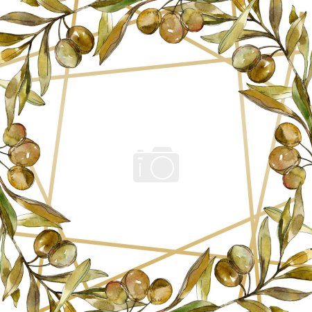 Photo for Green olives watercolor background illustration set. Watercolour drawing fashion aquarelle isolated. Frame border - Royalty Free Image