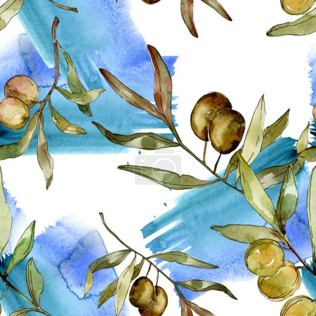Photo for Green olives watercolor background illustration set. Watercolour drawing aquarelle. Seamless background pattern. Fabric wallpaper print texture. - Royalty Free Image