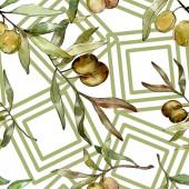"""Постер, картина, фотообои """"Зеленые оливки акварель фон иллюстрации набора. Акварель Акварель и рисования. Бесшовный фон узор. Обои для рабочего стола ткань печати текстуры."""""""