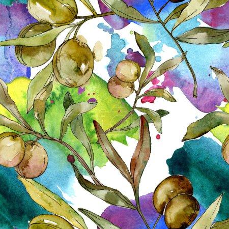 Photo pour Olives vertes aquarelle fond illustration ensemble. Aquarelle dessin aquarelle. Motif de fond transparente. Impression texture de tissu papier peint. - image libre de droit