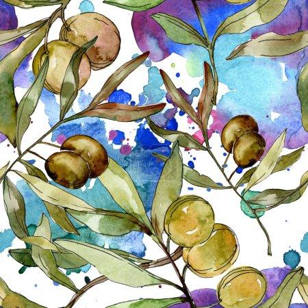 Photo pour Olives vertes aquarelle fond illustration ensemble. Aquarelle dessin aquarelle. Modèle de fond sans couture. Texture d'impression papier peint tissu . - image libre de droit