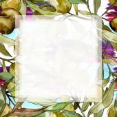 """Постер, картина, фотообои """"Рамка с зеленые оливки и листья акварель фон иллюстрации. Акварель рисования моды акварель изолированные"""""""