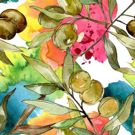 Foto de Conjunto de ilustración de fondo acuarela aceitunas verdes. Aquarelle Dibujo Acuarela. Patrón de fondo transparente. Textura impresión de papel pintado de tela. - Imagen libre de derechos
