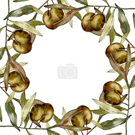 Frame with Green olives and leaves watercolor background illustration set. Watercolour drawing fashion aquarelle isolated.